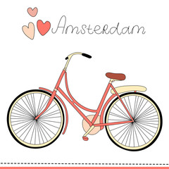 Amsterdam is bike city. Vintage vector illustration.