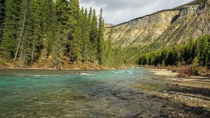 The Bow river along Icefield road. Bow lake outlet.