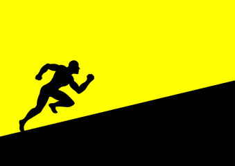 Silhouette of a man figure running uphill