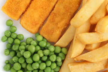 Fish Fingers Chips and Peas