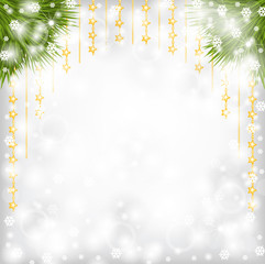 Christmas background with fir branch and gold beads garland