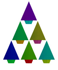 Origami, folded paper Christmas tree isolated on white.