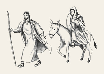 Sketch illustration of Mary and Joseph, journey to Bethlehem