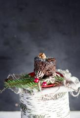 Christmas chocolate cupcake on birch stump.