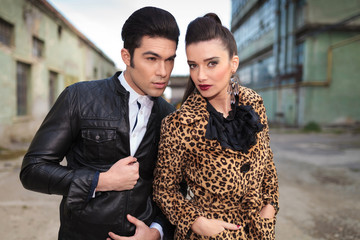 Close up picture of a young fashion couple