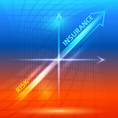 concept-insurance-risk-hot-orange-blue-background