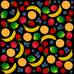 Vector pattern of fruits on black background