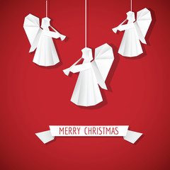 Origami Paper Angel - Christmas Background - in vector