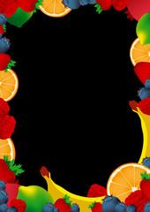 Vector frame made of fruit on black background