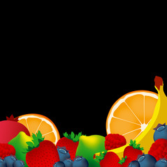 Vector layer of fruits on black background