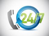 phone 24 7 support illustration design