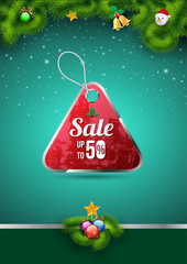 Sale tag on christmas background.