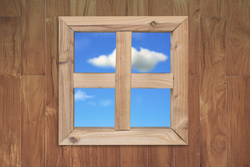 see natural blue sky clouds through wooden window