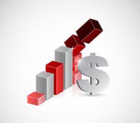 dollar prices falling illustration design