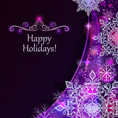 Christmas snowflakes purple vector background.