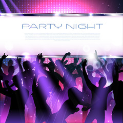 Joyful Party Music background with silhouttes  - Vector