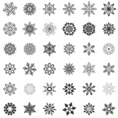 Snowflake shapes isolated on white background.