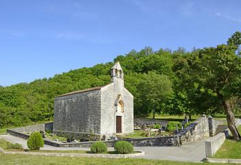Church of St. Mary of the Health near castle Dvigrad. Croatia