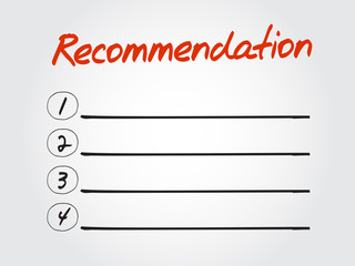 Hand drawn blank Recommendation list for diagram, chart shapes