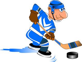 hockey player in blue