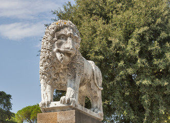 Ancient lion statue in Lucca, Italy