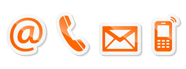 Contact Us – Orange sticker icons