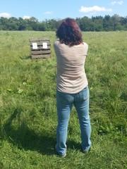 Woman shooting pistol
