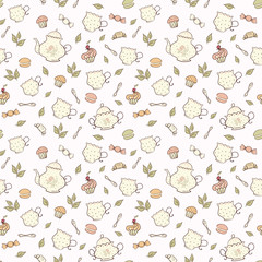 Tea and sweets seamless doodle pattern.