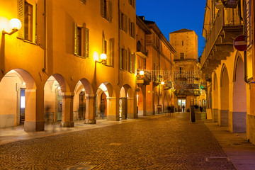 Old town of Alba in evening.