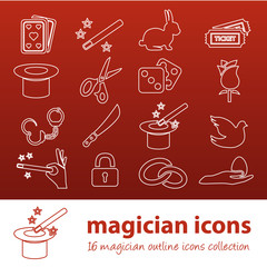 magician outline icons