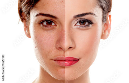 Comparison portrait of a woman without and with makeup - 73623488