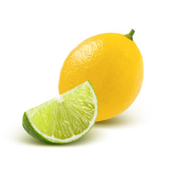 Whole lemon and quarter lime piece isolated on white