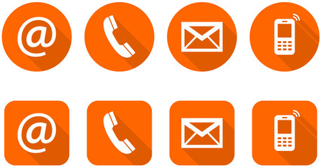 Set of web orange flat icons, two variants - Contact Us