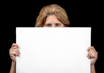 Woman hiding behind a white banner with space for text