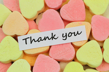 Thank you card with colorful sugar hearts
