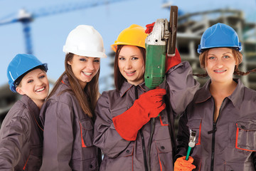 four women construction workers