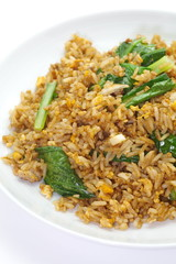 Chinese fried rice with pork and green leek vegetable