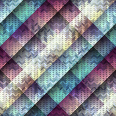 Knitted pattern on diagonal geometric background.