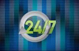 24 7 sign illustration design
