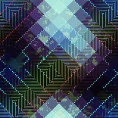 Grunge abstract matrix pattern on blurred background.