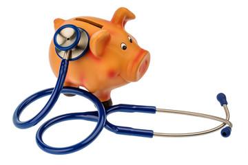 Sparschwein und Stethoskop