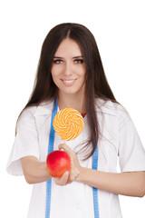 Nutritionist Choosing an Apple over a Lollipop