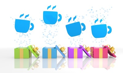 isolated present boxes with coffee icon