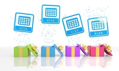 happy present boxes with xlsx symbol
