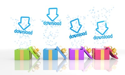 isolated present boxes with download symbol