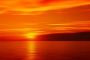 Blurred sunset in red color