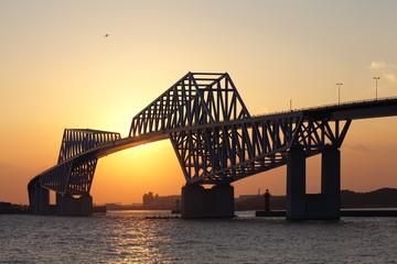 Tokyo bay and Tokyo gate bridge during beautiful sunset time