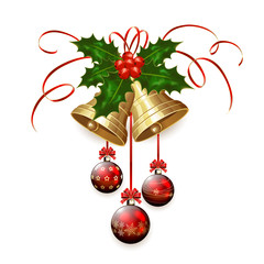 Christmas bells and red balls