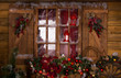 Glass Window with Christmas Ornaments - 73627488