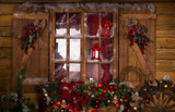 Glass Window with Christmas Ornaments